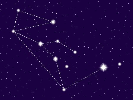 Lupus constellation. Starry night sky. Vector illustration Illustration