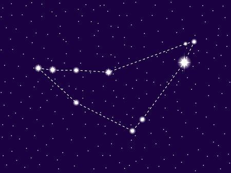 Capricornus constellation. Starry night sky. Cluster of stars and galaxies. Deep space. Vector illustration Vektoros illusztráció