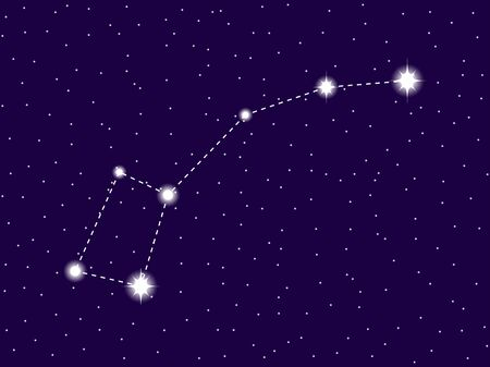 Ursa minor constellation. Starry night sky. Cluster of stars and galaxies. Deep space. Vector illustration