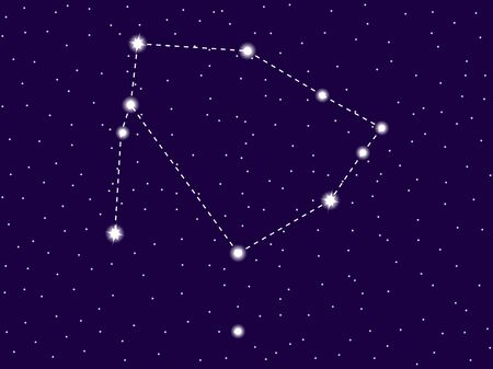 Ophiuchus constellation. Starry night sky. Cluster of stars and galaxies. Deep space. Vector illustration