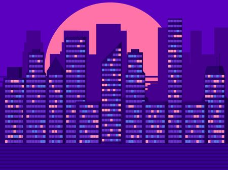 Skyscrapers landscape in retro style. Light in the windows. City sunset. Vector illustration