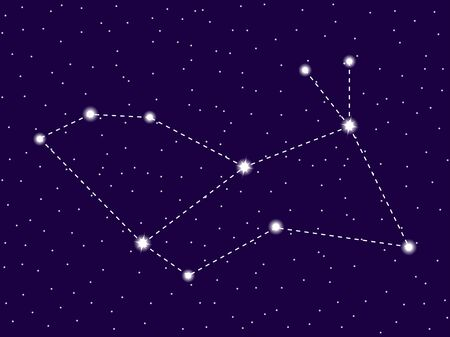 Lepus constellation. Starry night sky. Cluster of stars and galaxies. Deep space. Vector illustration