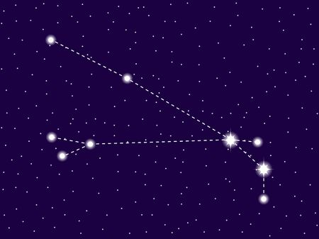Aries constellation. Starry night sky. Cluster of stars and galaxies. Deep space. Vector illustration Ilustração