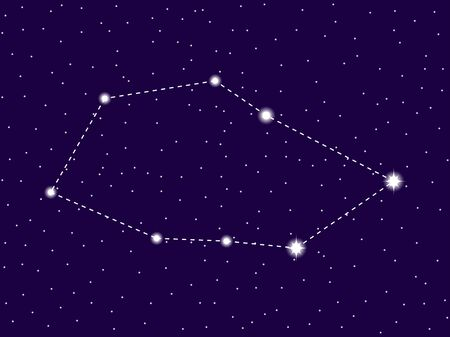 Vela constellation. Starry night sky. Cluster of stars and galaxies. Deep space. Vector illustration Vektorové ilustrace