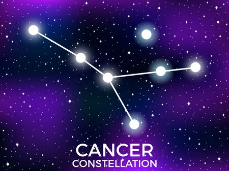 Cancer constellation. Starry night sky. Cluster of stars and galaxies. Deep space. Vector illustration