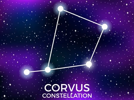 Corvus constellation. Starry night sky. Cluster of stars and galaxies. Deep space. Vector illustration