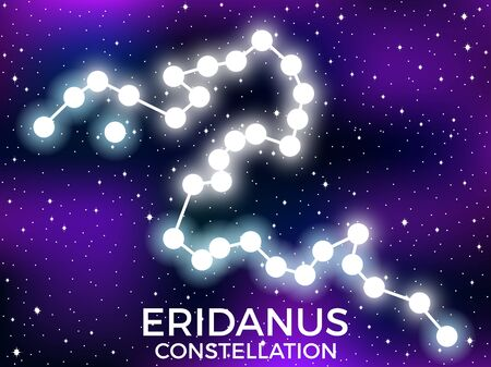 Eridanus constellation. Starry night sky. Zodiac sign. Cluster of stars and galaxies. Deep space. Vector illustration