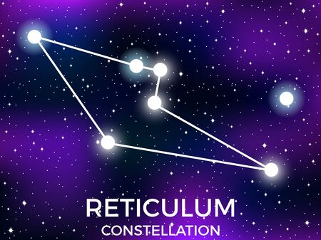 Reticulum constellation. Starry night sky. Zodiac sign. Cluster of stars and galaxies. Deep space. Vector illustration