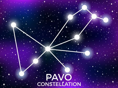 Pavo constellation. Starry night sky. Cluster of stars and galaxies. Deep space. Vector illustration