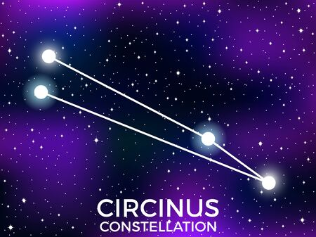 Circinus constellation. Starry night sky. Zodiac sign. Cluster of stars and galaxies. Deep space. Vector illustration