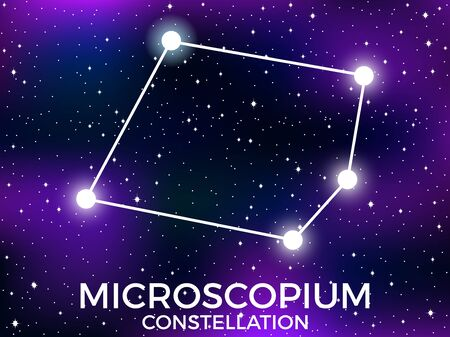 Microscopium constellation. Starry night sky. Cluster of stars and galaxies. Deep space. Vector illustration