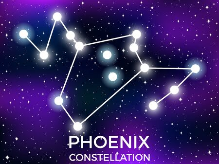 Phoenix constellation . Starry night sky. Zodiac sign. Cluster of stars and galaxies. Deep space. Vector illustration