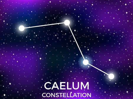 Caelum constellation. Starry night sky. Cluster of stars and galaxies. Deep space. Vector illustration