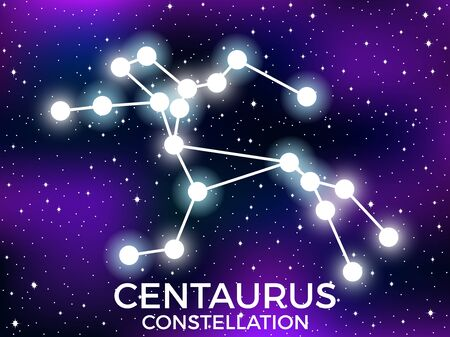 Centaurus constellation. Starry night sky. Zodiac sign. Cluster of stars and galaxies. Deep space. Vector illustration Illusztráció