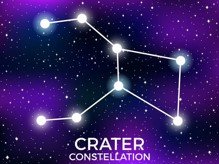 Crater constellation. Starry night sky. Zodiac sign. Cluster of stars and galaxies. Deep space. Vector illustration Illusztráció