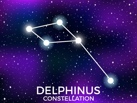 Delphinus constellation. Starry night sky. Cluster of stars and galaxies. Deep space. Vector illustration