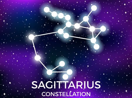 Sagittarius constellation. Starry night sky. Zodiac sign. Cluster of stars and galaxies. Deep space. Vector illustration