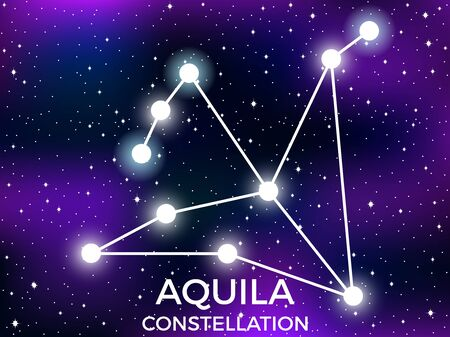 Aquila constellation. Starry night sky. Cluster of stars and galaxies. Deep space. Vector illustration Illusztráció