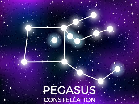 Pegasus constellation. Starry night sky. Cluster of stars and galaxies. Deep space. Vector illustration