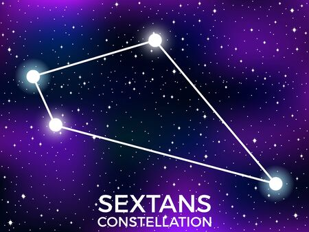 Sextans constellation. Starry night sky. Cluster of stars and galaxies. Deep space. Vector illustration