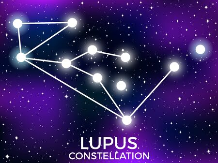 Lupus constellation. Starry night sky. Zodiac sign. Cluster of stars and galaxies. Deep space. Vector illustration Illusztráció