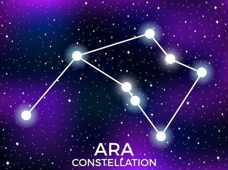 Ara constellation. Starry night sky. Cluster of stars and galaxies. Deep space. Vector illustration