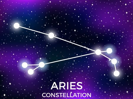 Aries constellation. Starry night sky. Cluster of stars and galaxies. Deep space. Vector illustration Illusztráció
