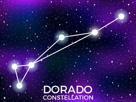 Dorado constellation. Starry night sky. Cluster of stars and galaxies. Deep space. Vector illustration Illusztráció