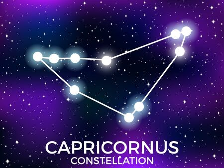 Capricornus constellation. Starry night sky. Cluster of stars and galaxies. Deep space. Vector illustration