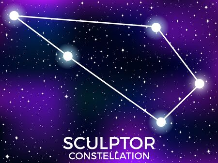 Sculptor constellation. Starry night sky. Zodiac sign. Cluster of stars and galaxies. Deep space. Vector illustration