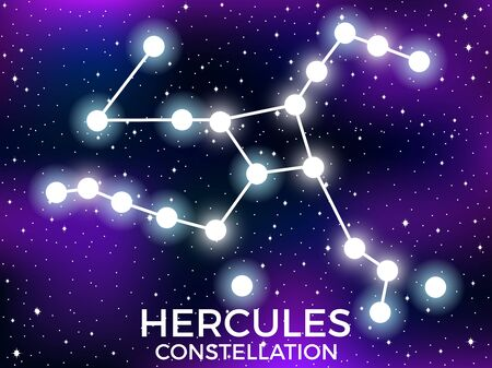 Hercules constellation. Starry night sky. Cluster of stars and galaxies. Deep space. Vector illustration Illusztráció