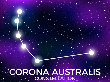 Corona Australis constellation. Starry night sky. Zodiac sign. Cluster of stars and galaxies. Deep space. Vector illustration Illusztráció