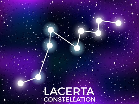 Lacerta constellation. Starry night sky. Zodiac sign. Cluster of stars and galaxies. Deep space. Vector illustration
