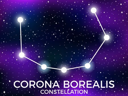 Corona Borealis constellation. Starry night sky. Zodiac sign. Cluster of stars and galaxies. Deep space. Vector illustration