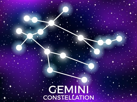 Gemini constellation. Starry night sky. Cluster of stars and galaxies. Deep space. Vector illustration Illusztráció