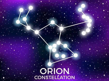 Orion constellation. Starry night sky. Cluster of stars and galaxies. Deep space. Vector illustration