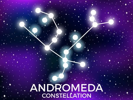 Andromeda constellation. Starry night sky. Cluster of stars and galaxies. Deep space. Vector illustration