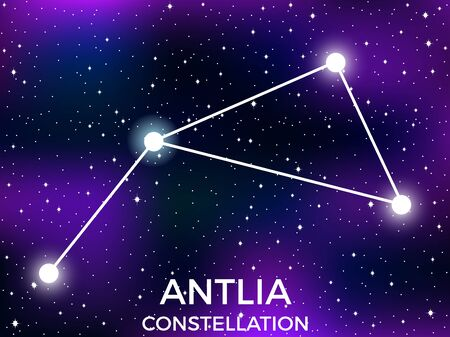 Antlia constellation. Starry night sky. Cluster of stars and galaxies. Deep space. Vector illustration