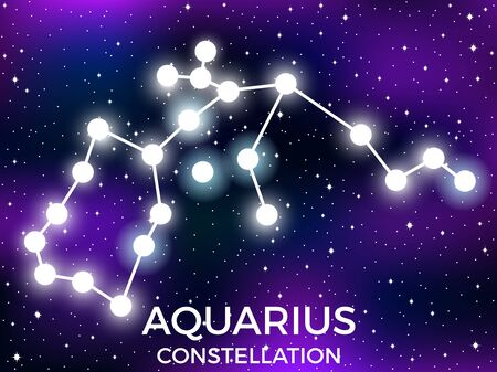 Aquarius constellation. Starry night sky. Cluster of stars and galaxies. Deep space. Vector illustration