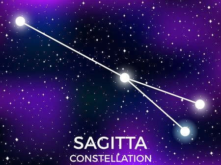 Sagitta constellation. Starry night sky. Zodiac sign. Cluster of stars and galaxies. Deep space. Vector illustration Illusztráció