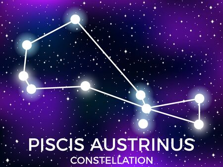 Piscis Austrinus constellation. Starry night sky. Zodiac sign. Cluster of stars and galaxies. Deep space. Vector illustration Illusztráció