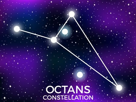 Octans constellation. Starry night sky. Cluster of stars and galaxies. Deep space. Vector illustration Illusztráció