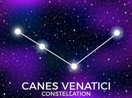 Canes Venatici constellation. Starry night sky. Cluster of stars and galaxies. Deep space. Vector illustration Illusztráció