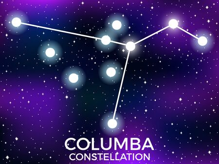 Columba constellation. Starry night sky. Cluster of stars and galaxies. Deep space. Vector illustration Illusztráció