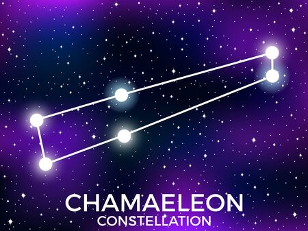Chamaeleon constellation. Starry night sky. Zodiac sign. Cluster of stars and galaxies. Deep space. Vector illustration Illusztráció