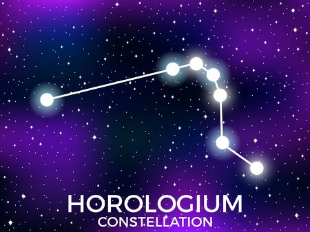 Horologium constellation. Starry night sky. Zodiac sign. Cluster of stars and galaxies. Deep space. Vector illustration Illusztráció