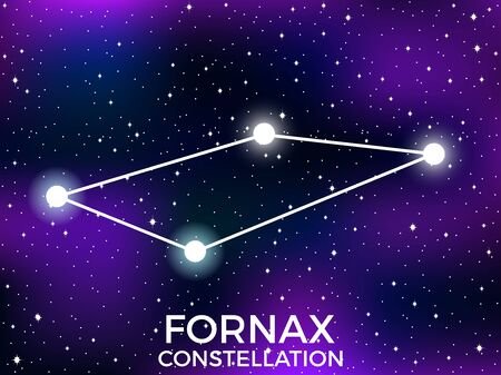 Fornax constellation. Starry night sky. Cluster of stars and galaxies. Deep space. Vector illustration Illusztráció