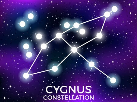 Cygnus constellation. Starry night sky. Cluster of stars and galaxies. Deep space. Vector illustration Illusztráció