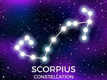 Scorpius constellation. Starry night sky. Zodiac sign. Cluster of stars and galaxies. Deep space. Vector illustration