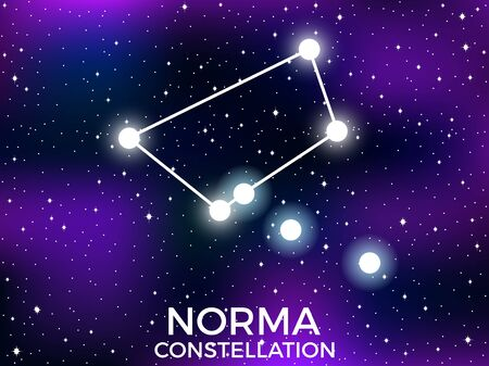Norma constellation. Starry night sky. Cluster of stars and galaxies. Deep space. Vector illustration